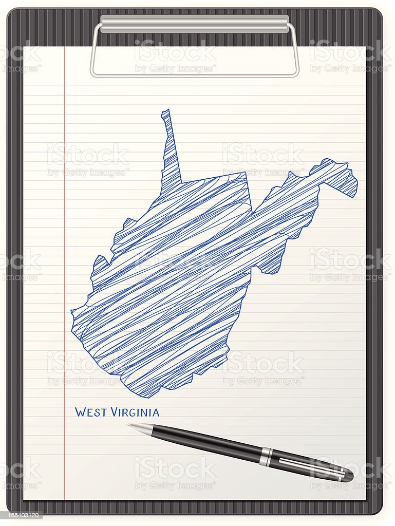 clipboard West Virginia map royalty-free stock vector art