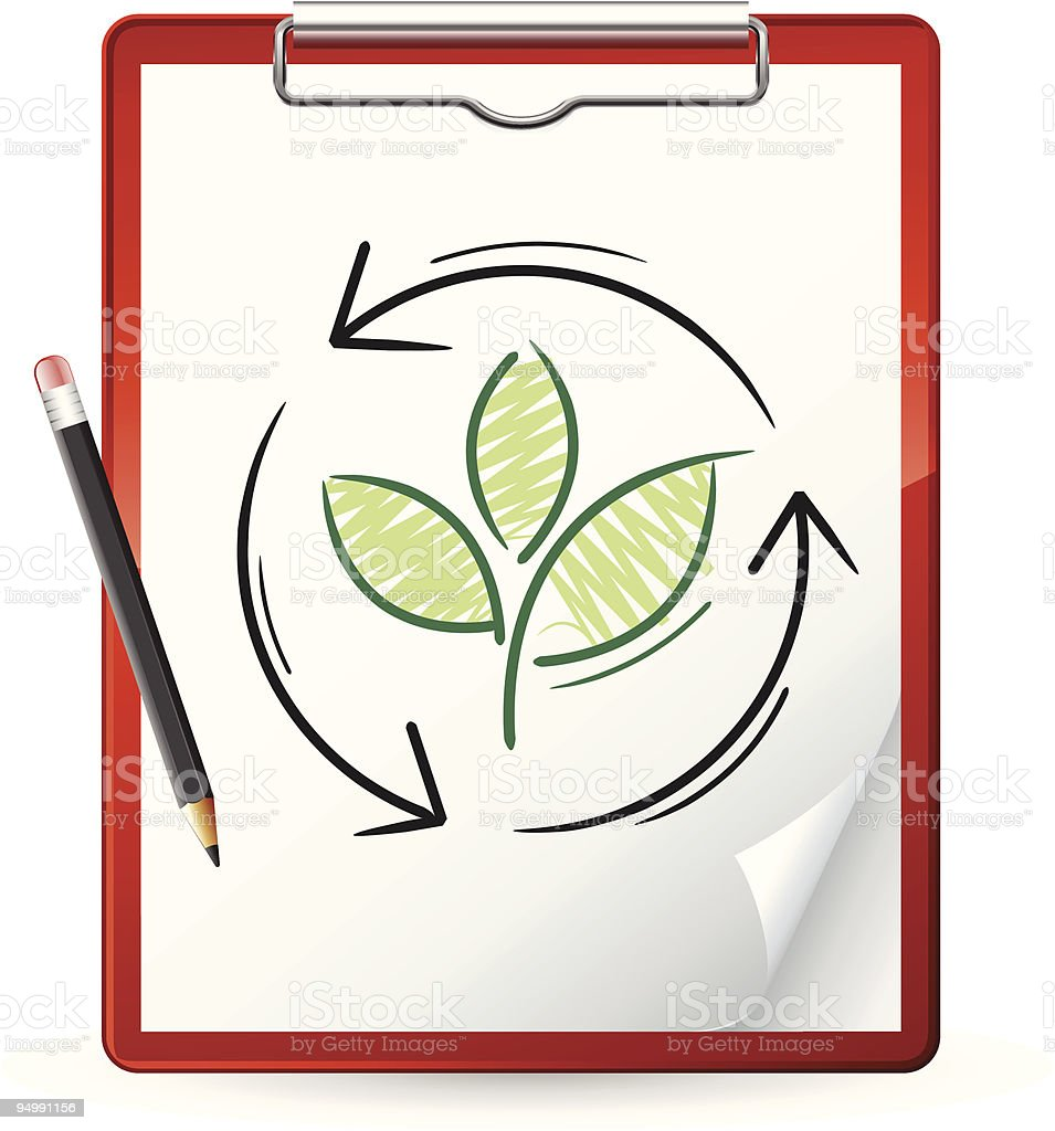 Clipboard with a nature concept royalty-free stock vector art