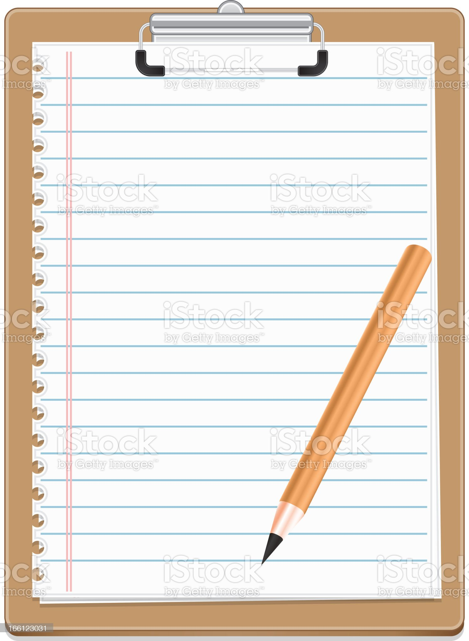 Clipboard with blank paper and pensil royalty-free stock vector art