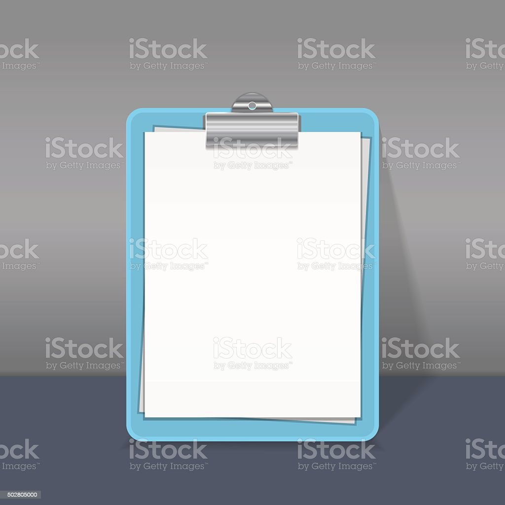 Clipboard with blank paper sheet. vector art illustration