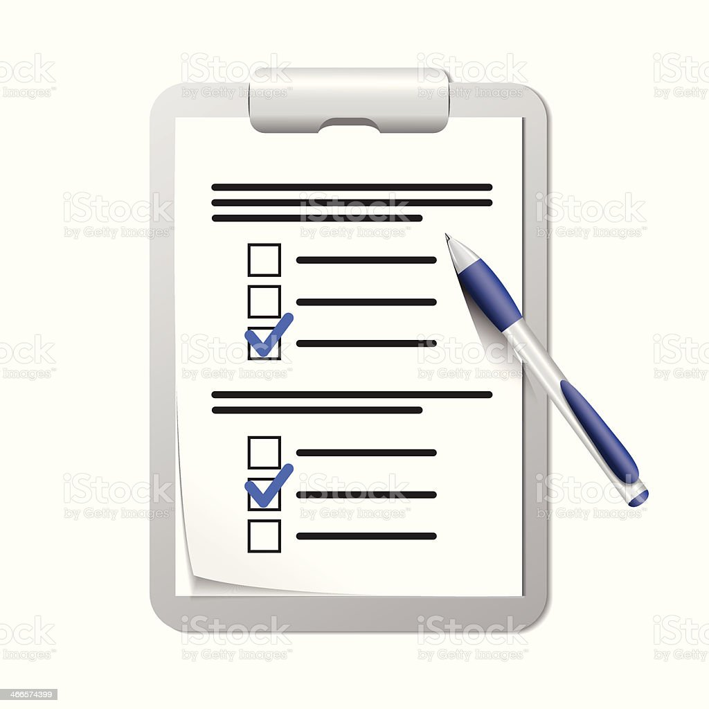 Clipboard with check list and pen vector art illustration
