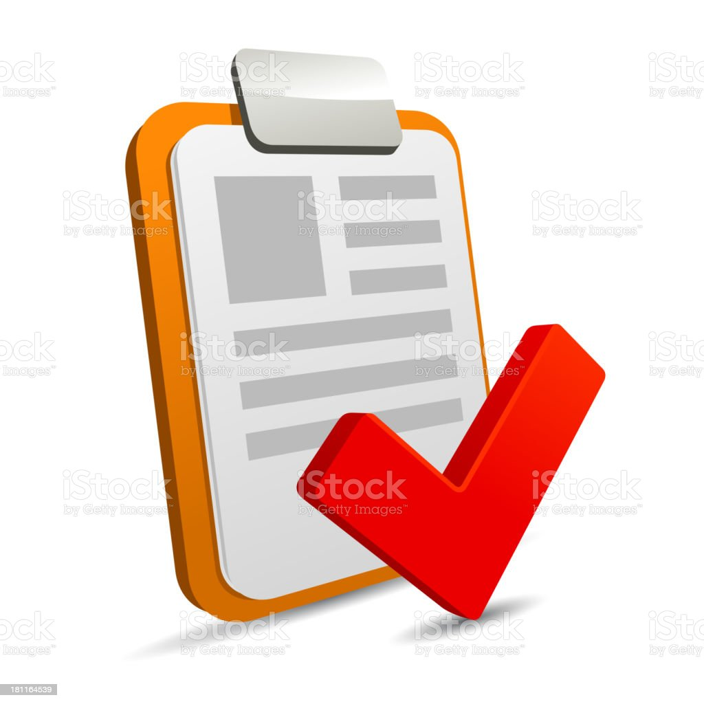 Clipboard with checklist on white background royalty-free stock vector art