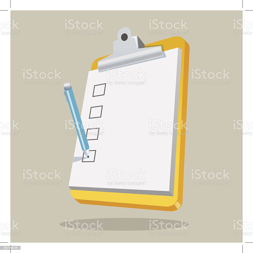 Clipboard with Checklist royalty-free stock vector art