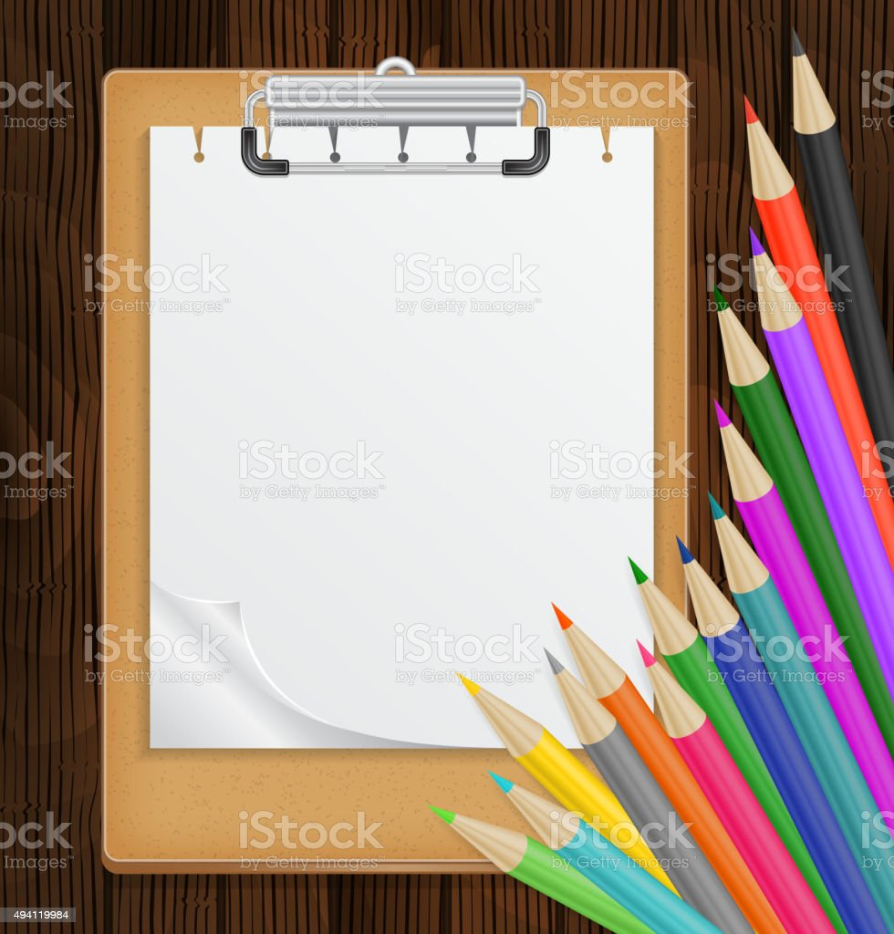 Clipboard with colorful pencils vector art illustration