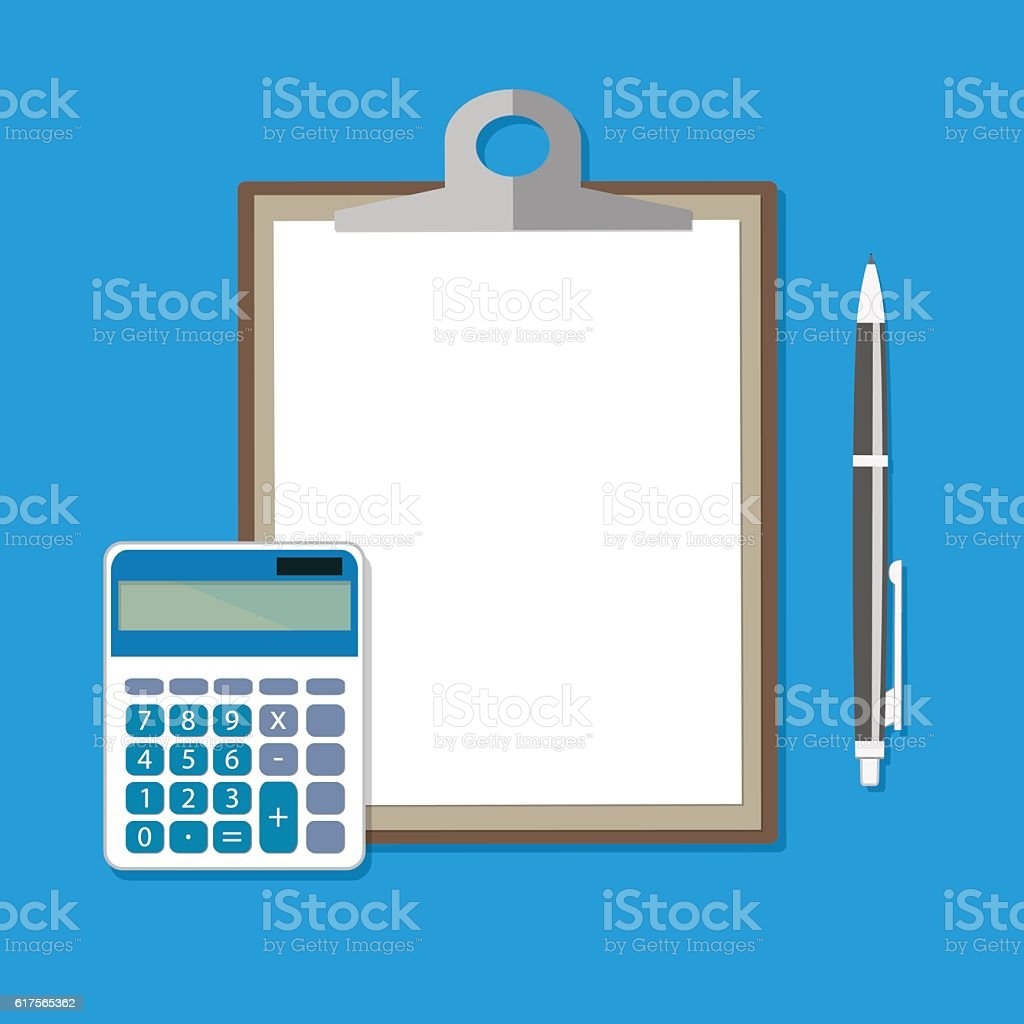 Clipboard with empty sheet, calculator and pen vector art illustration
