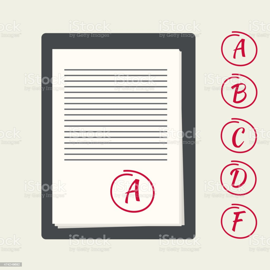 Clipboard with exam papers vector art illustration