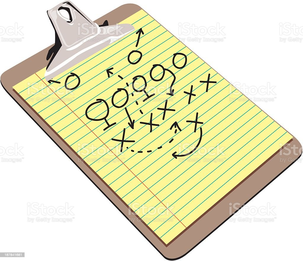 Clipboard with Football Strategy royalty-free stock vector art