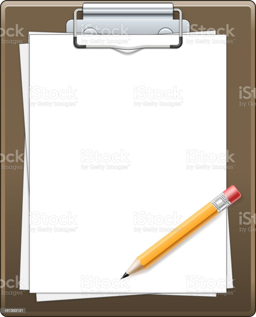 Clipboard with paper and pencil royalty-free stock vector art