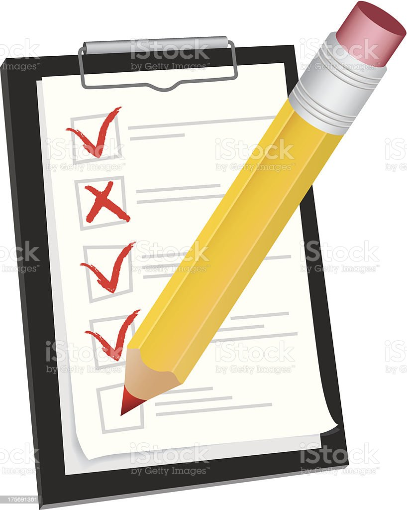 Clipboard with pencil royalty-free stock vector art