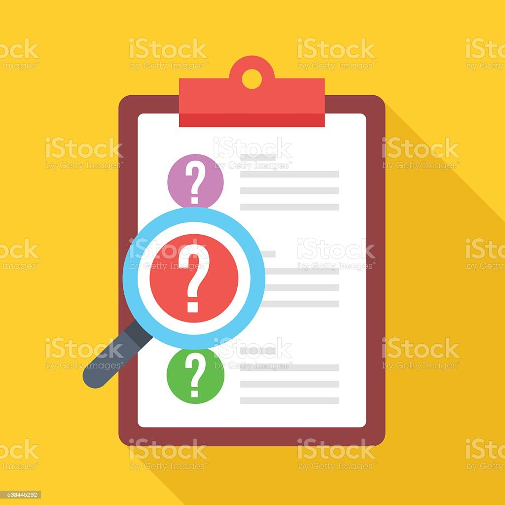 Clipboard with question marks and magnifying glass. Flat vector icon vector art illustration