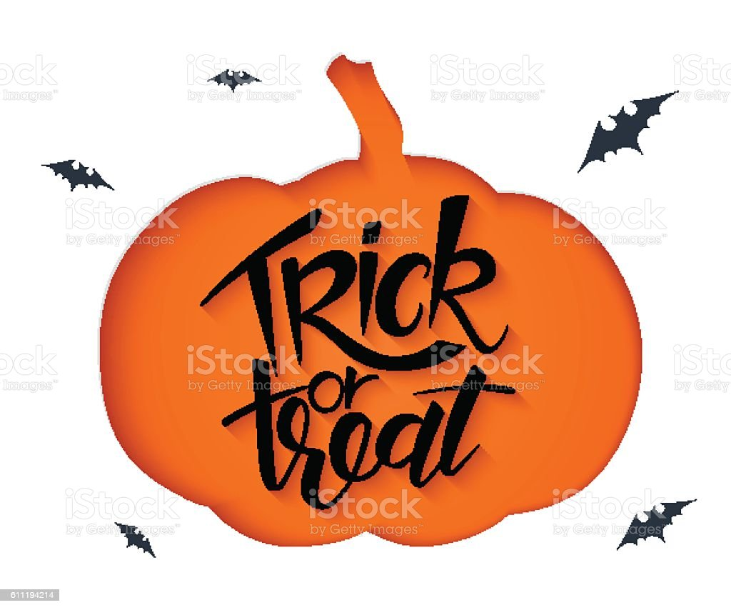 clipped pumpkin silhouette and lettering halloween label vector art illustration