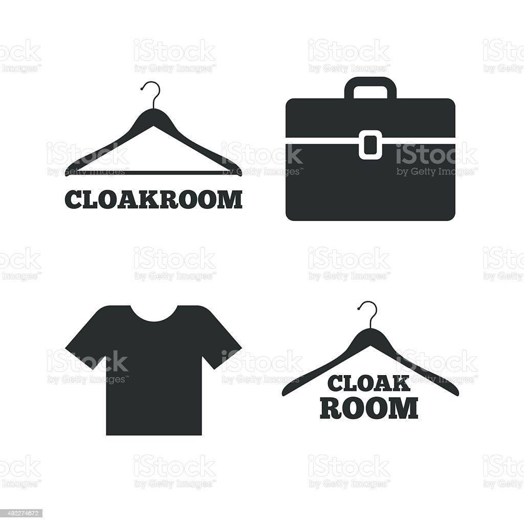 Cloakroom signs. Hanger wardrobe icons vector art illustration