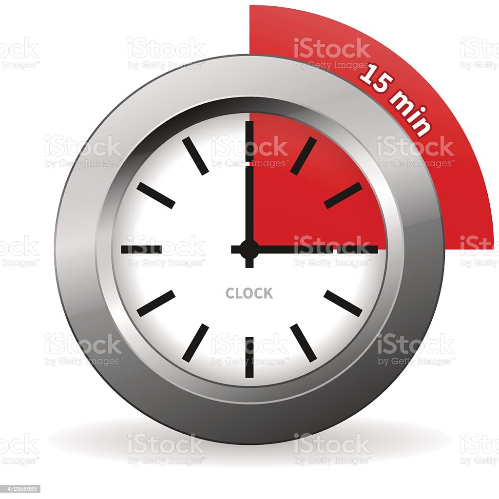 Clock 15 Minutes To Go vector art illustration