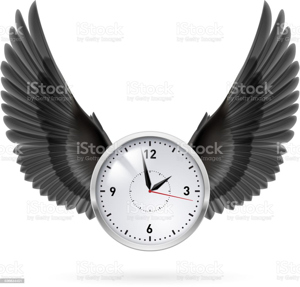 Clock and black wings. vector art illustration