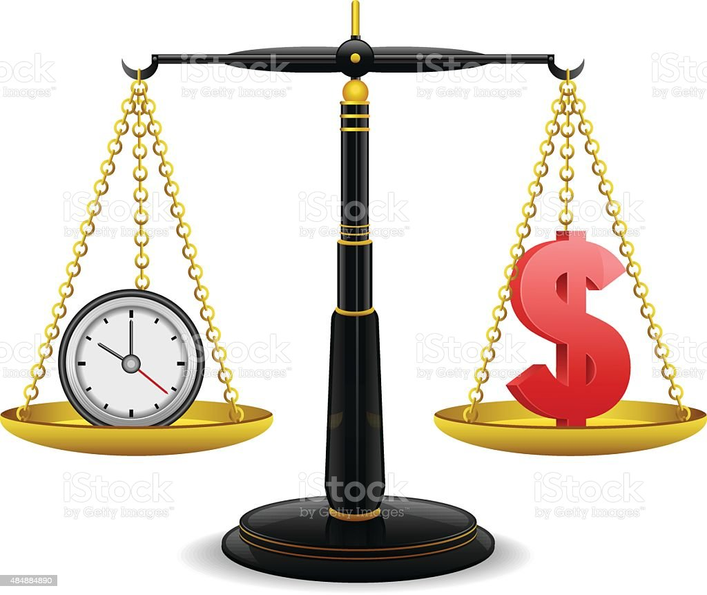 Clock and money on weighing scale vector art illustration