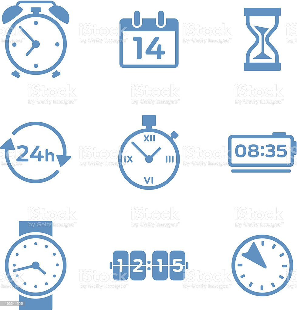 Clock and Time Icons vector art illustration