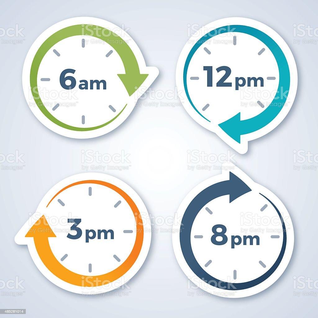 Clock Arrow Symbols vector art illustration
