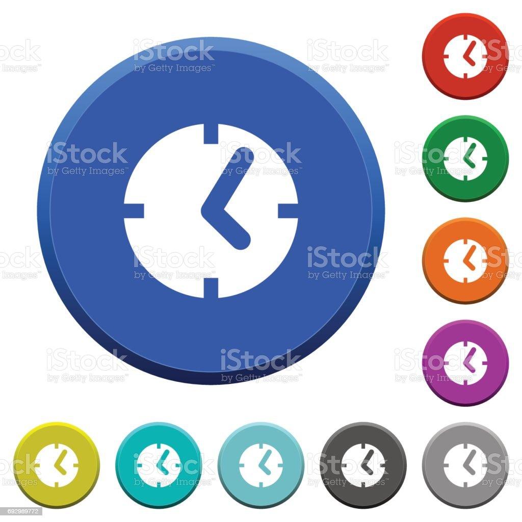 Clock beveled buttons vector art illustration