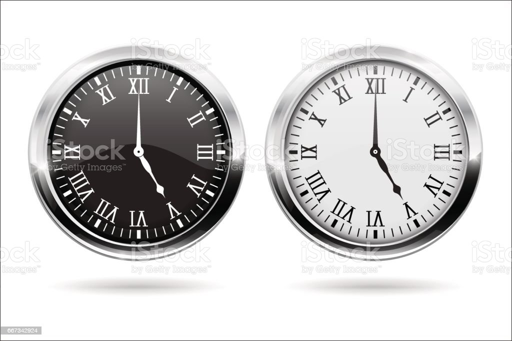 Clock. Black and white clock face with roman numerals and chrome frame vector art illustration