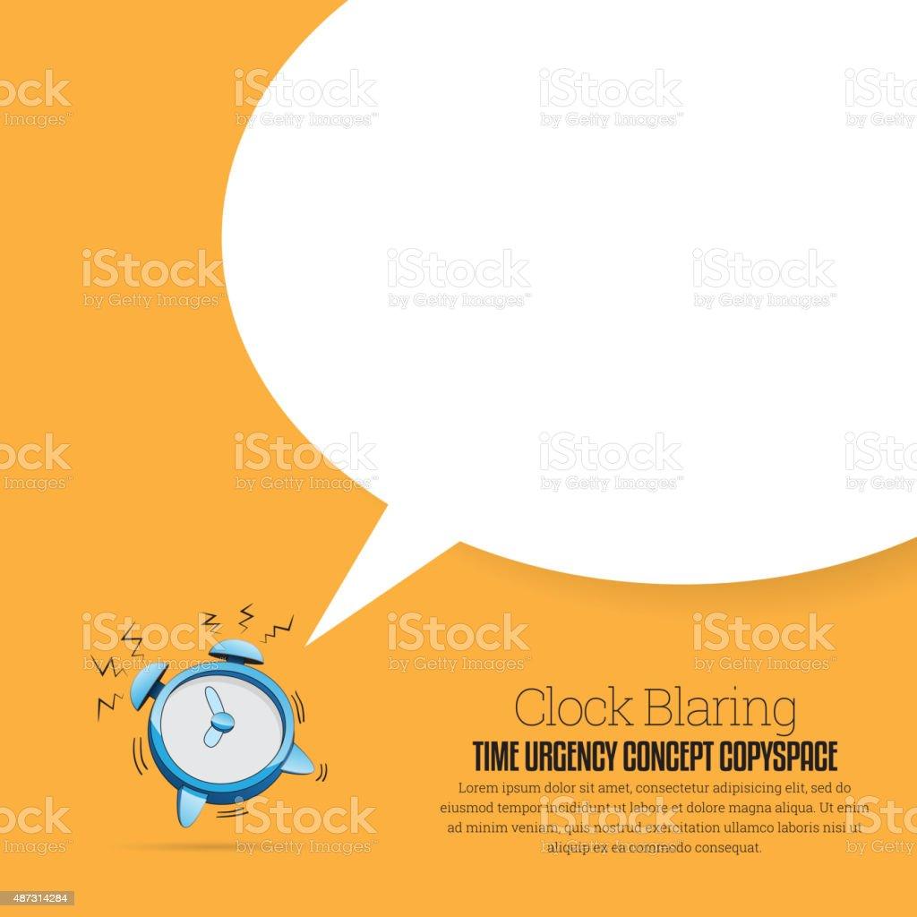 Clock Blaring Copyspace vector art illustration