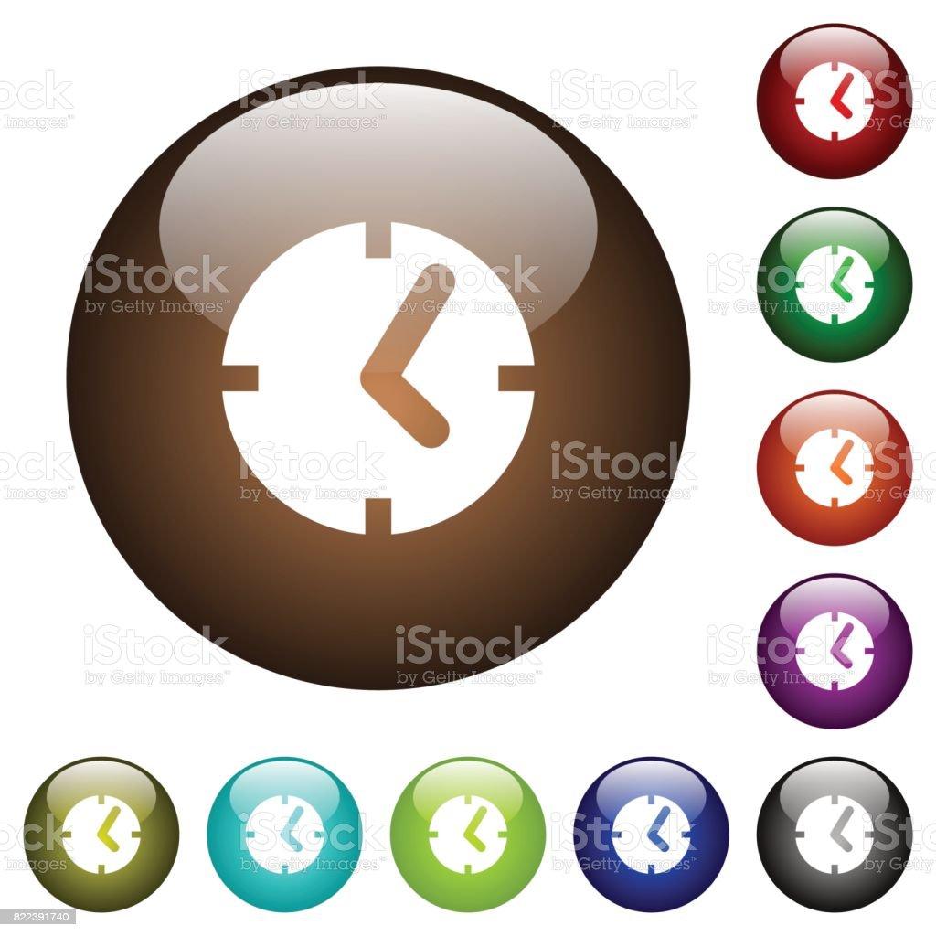 Clock color glass buttons vector art illustration