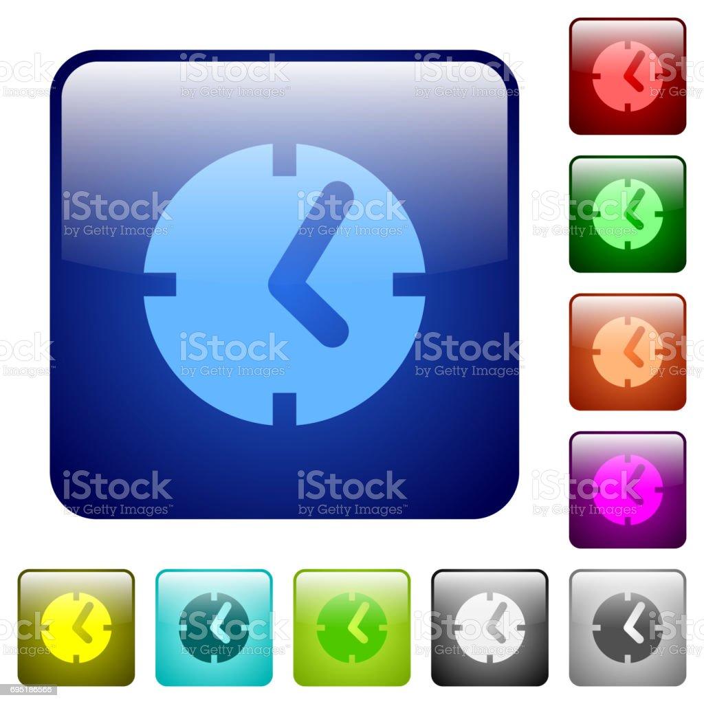 Clock color square buttons vector art illustration