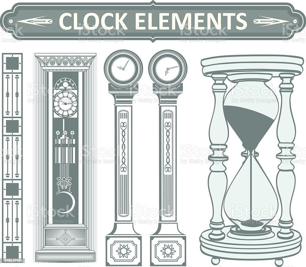 Clock elements 1. vector art illustration