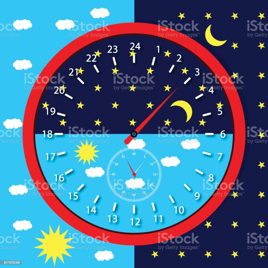 Clock face day and night vector art illustration