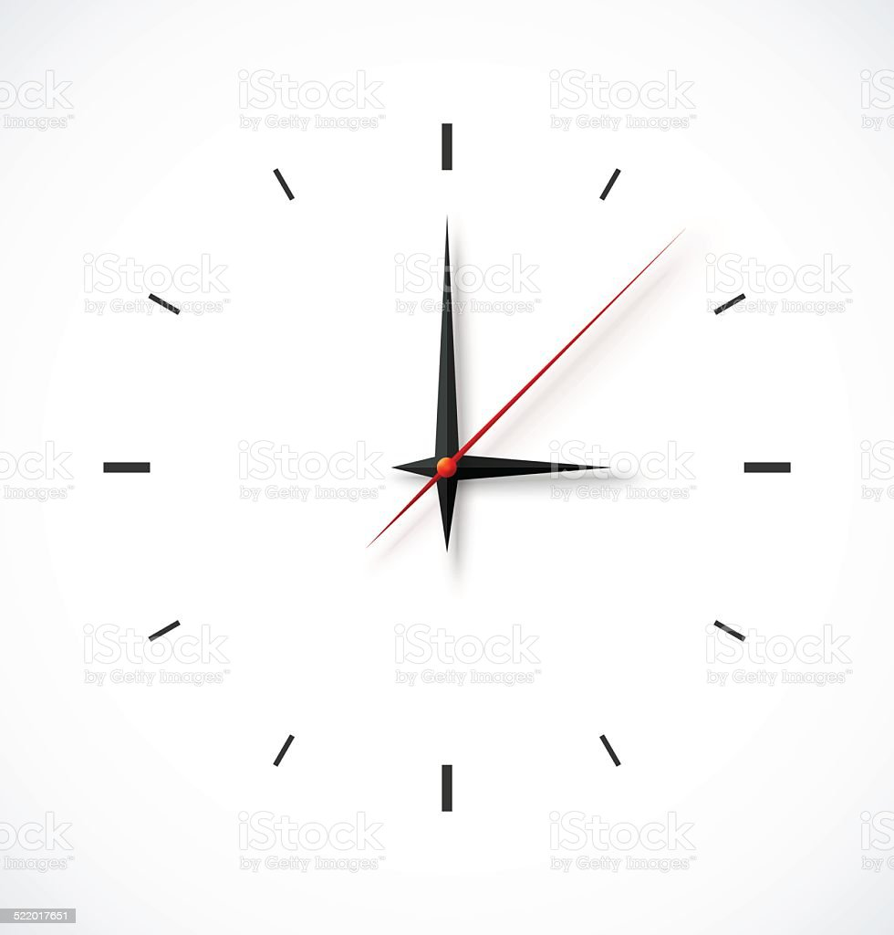 Clock face on white background vector art illustration