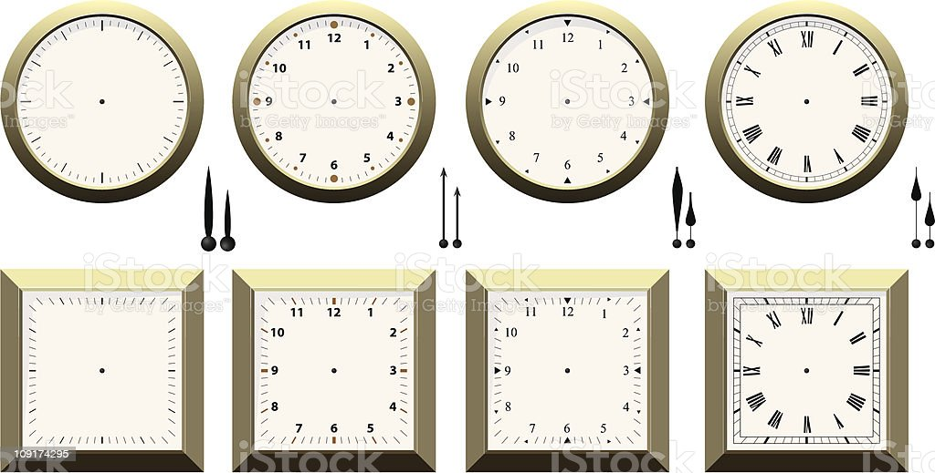 Clock Faces royalty-free stock vector art