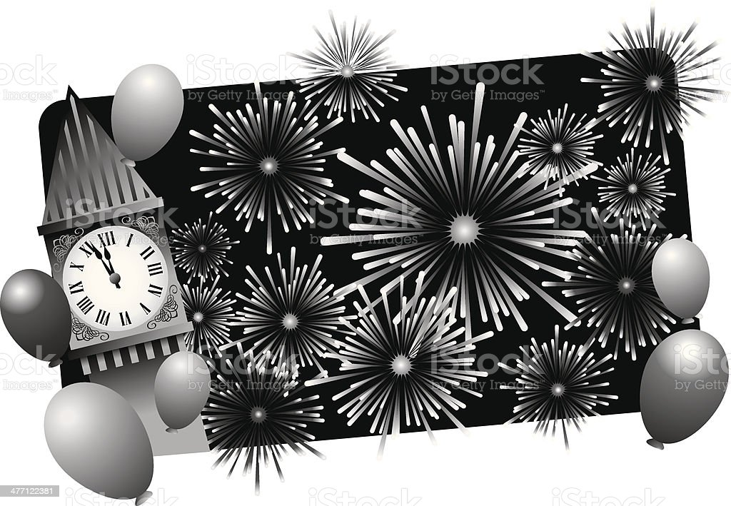 Clock Fireworks vector art illustration