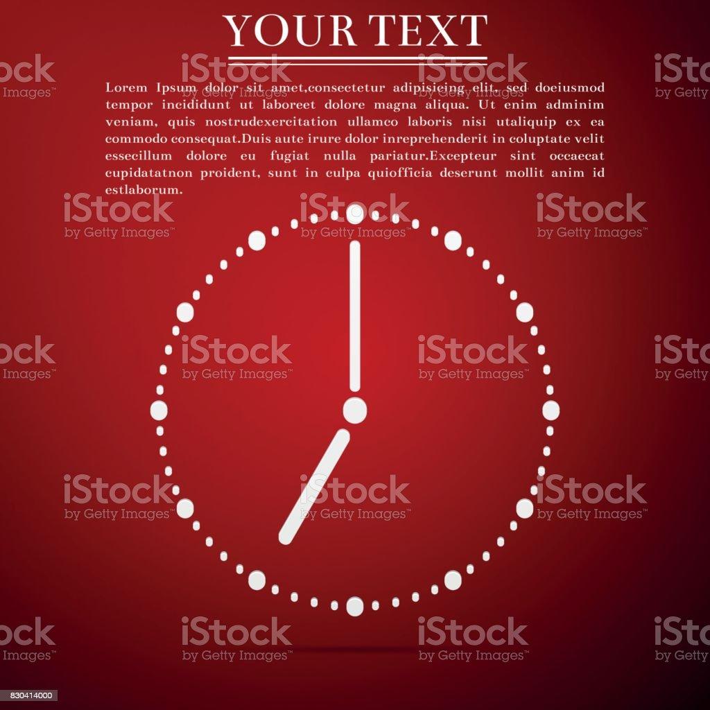 Clock flat icon on red background. Vector Illustration vector art illustration