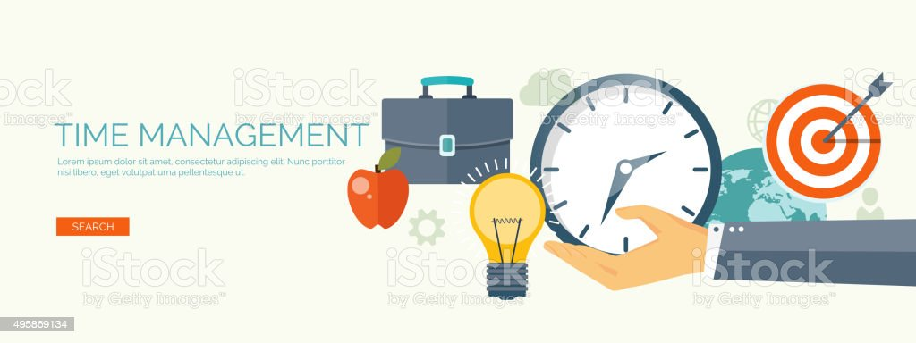 Clock flat icon. World time concept. Business background. Internet marketing vector art illustration