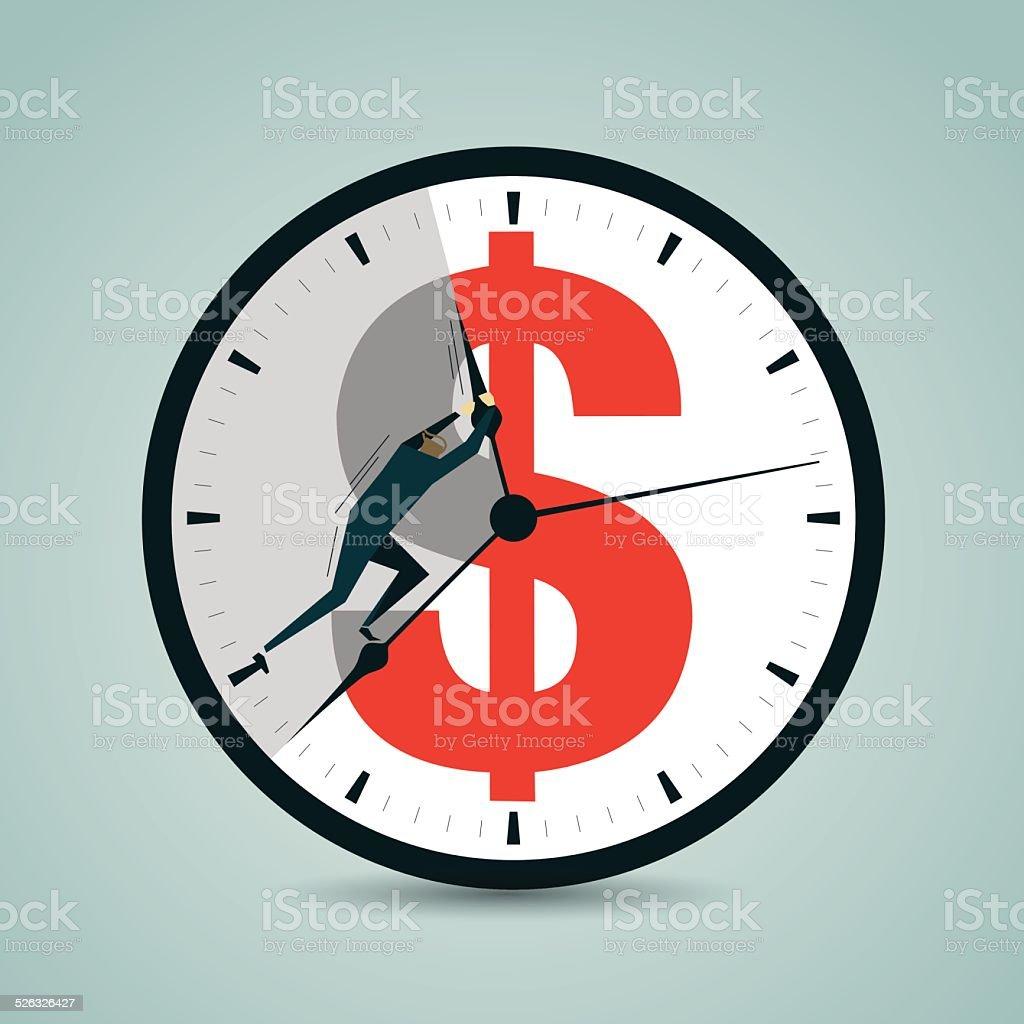 Clock Hand, Men, Time is Money, Making Money vector art illustration
