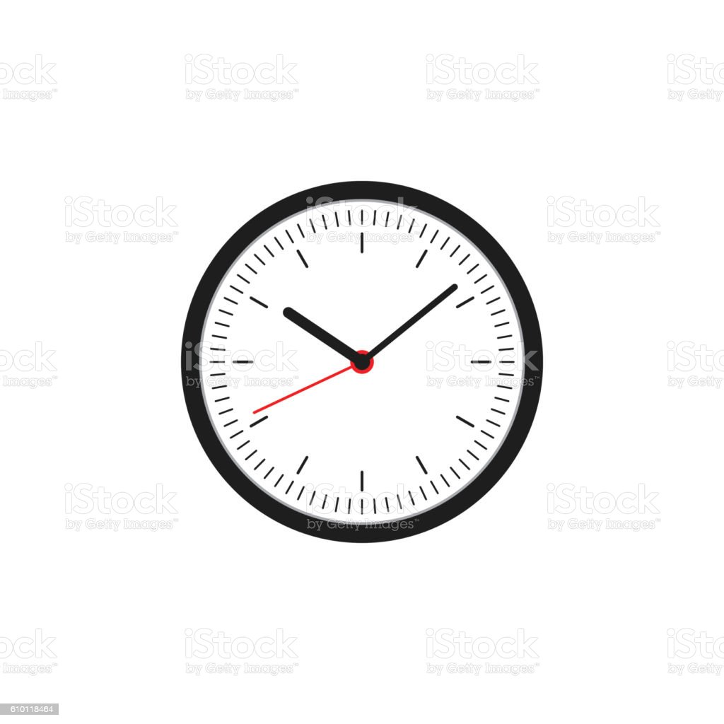 Clock icon flat design vector illustration vector art illustration
