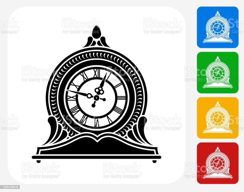 Clock Icon Flat Graphic Design vector art illustration