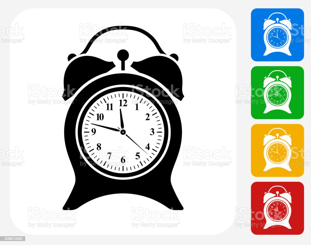 Clock Icon Flat Graphic Design vector art illustration