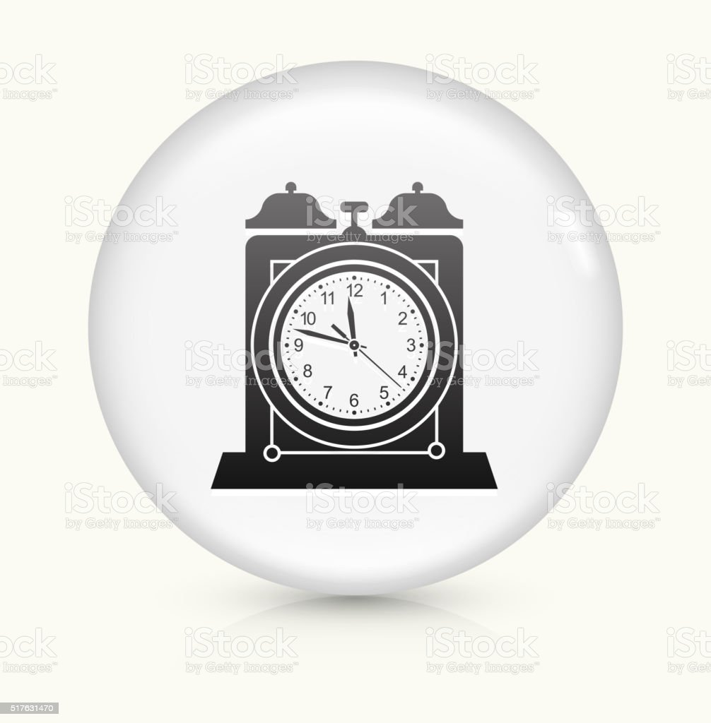 Clock icon on white round vector button vector art illustration