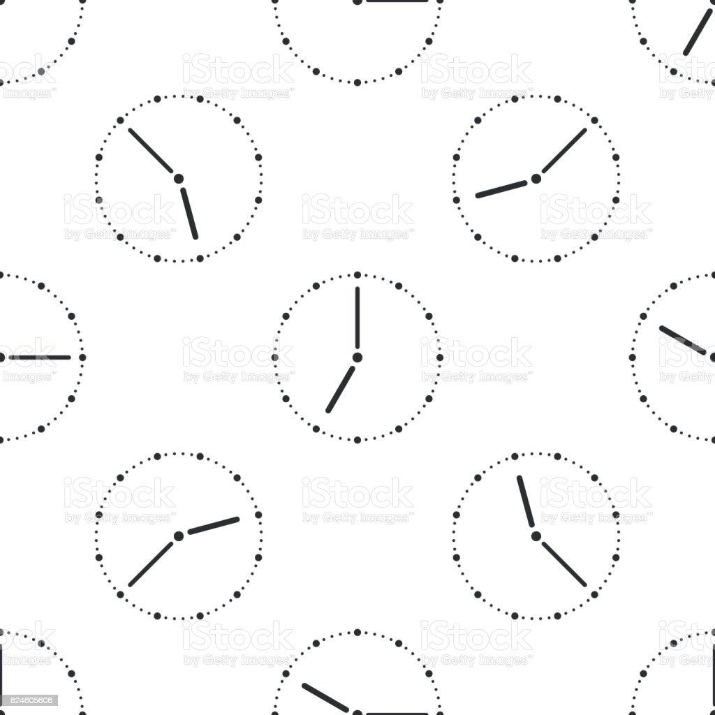 Clock icon seamless pattern on white background. Vector Illustration vector art illustration