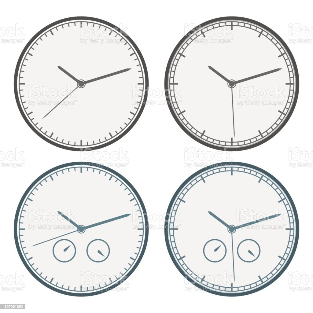 Clock Icon Set. Outline Isolated. Vector Illustration. vector art illustration