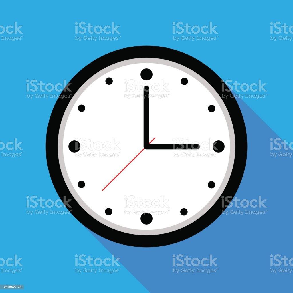Clock icon , Vector illustration flat design with long shadow vector art illustration