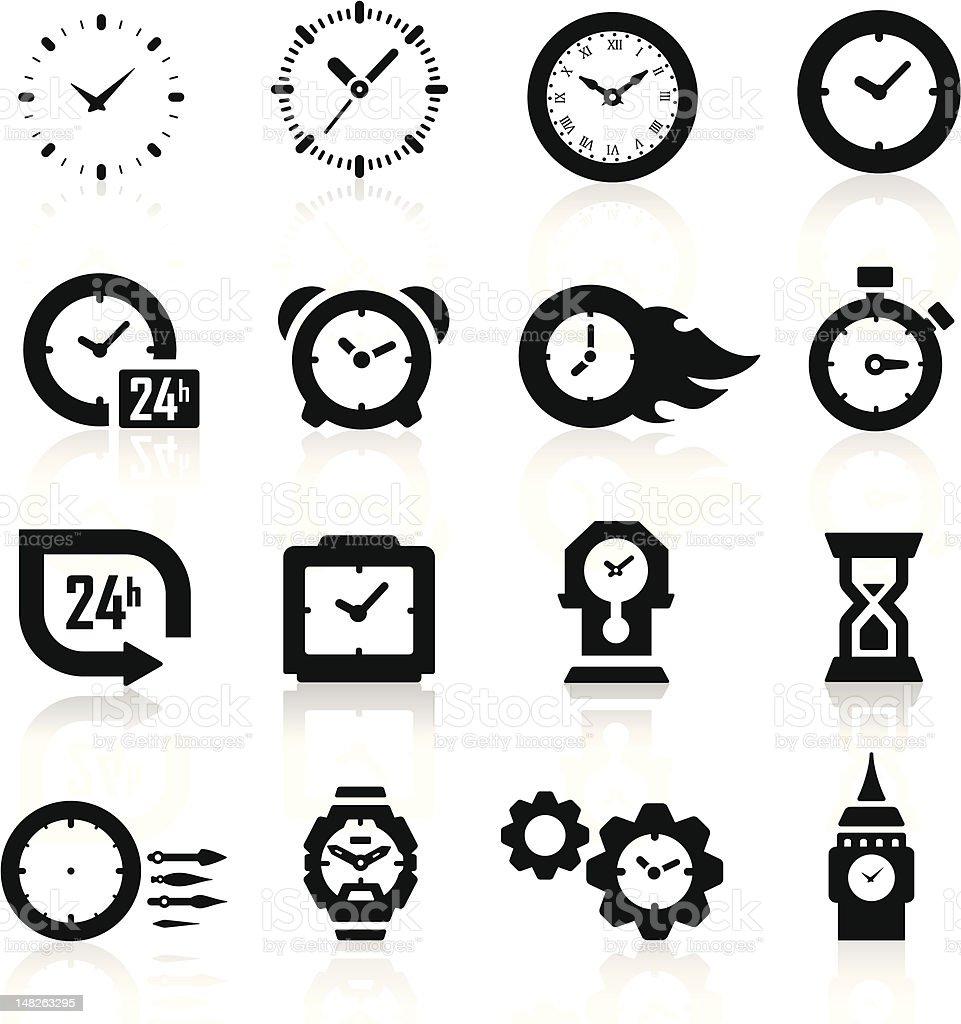 Clock icons vector art illustration