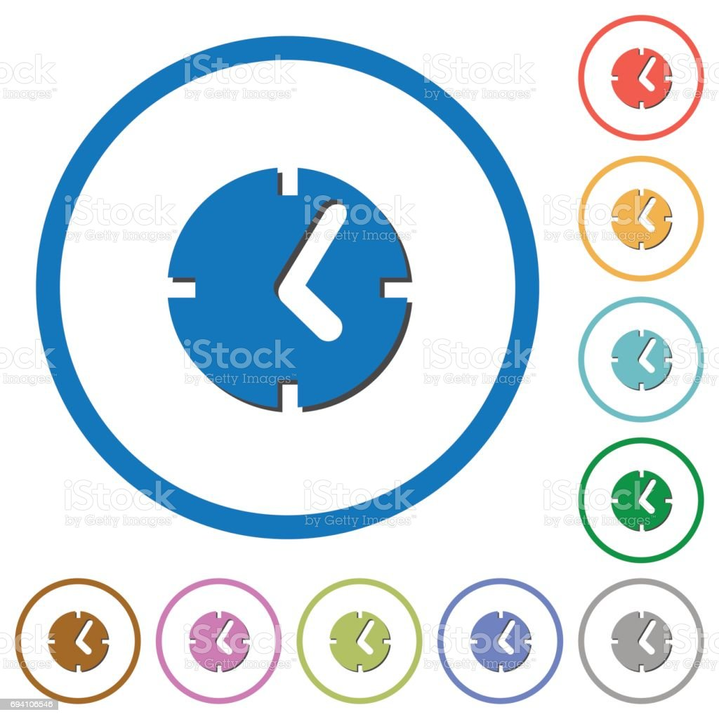 Clock icons with shadows and outlines vector art illustration