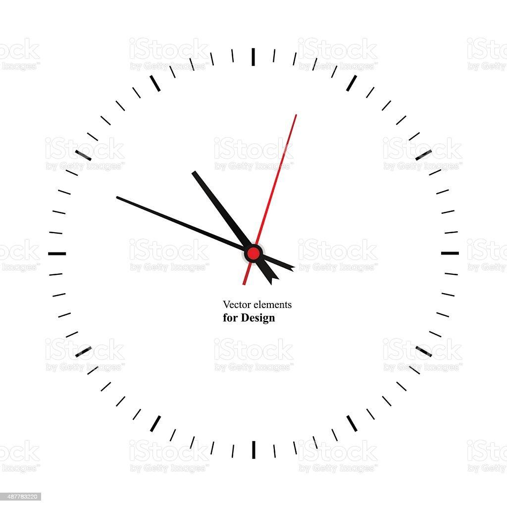 Clock image on white background vector art illustration