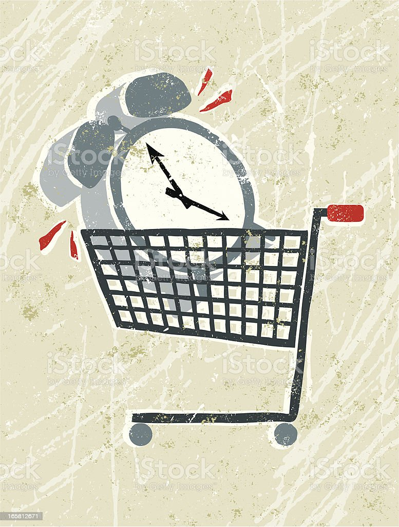 Clock in a Shopping Trolley royalty-free stock vector art
