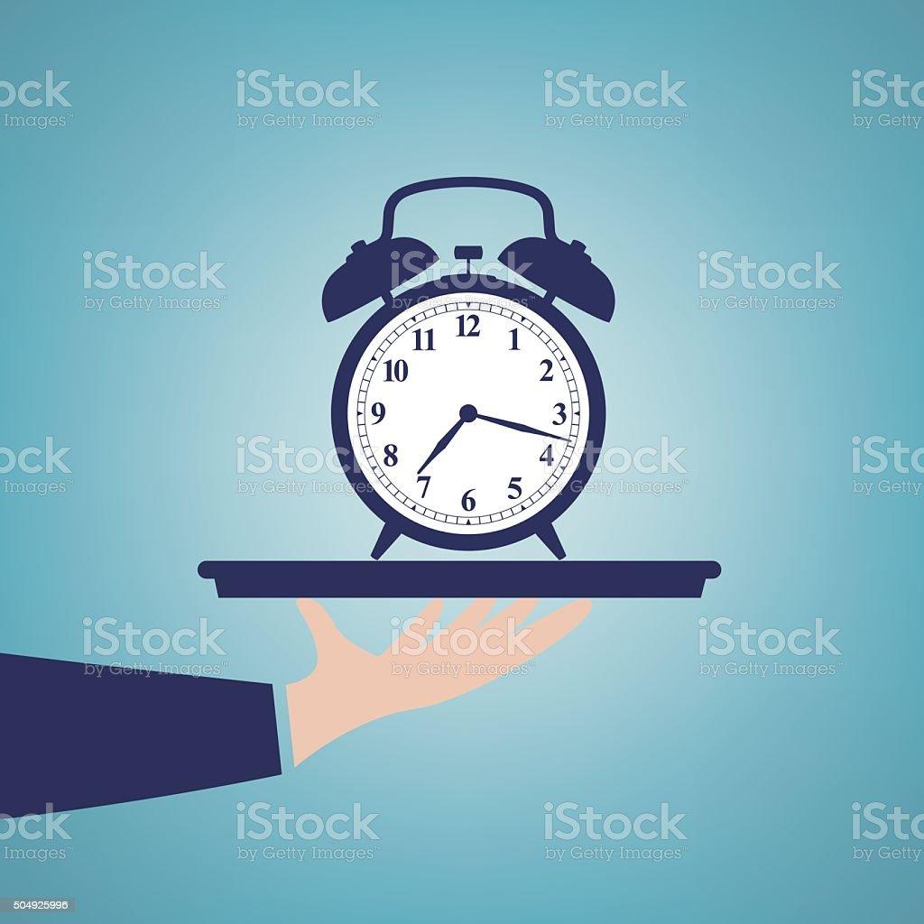 Clock in the tray vector art illustration