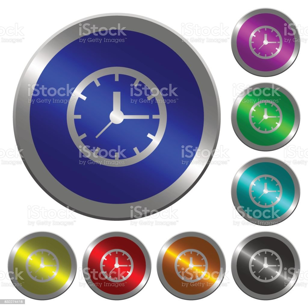Clock luminous coin-like round color buttons vector art illustration