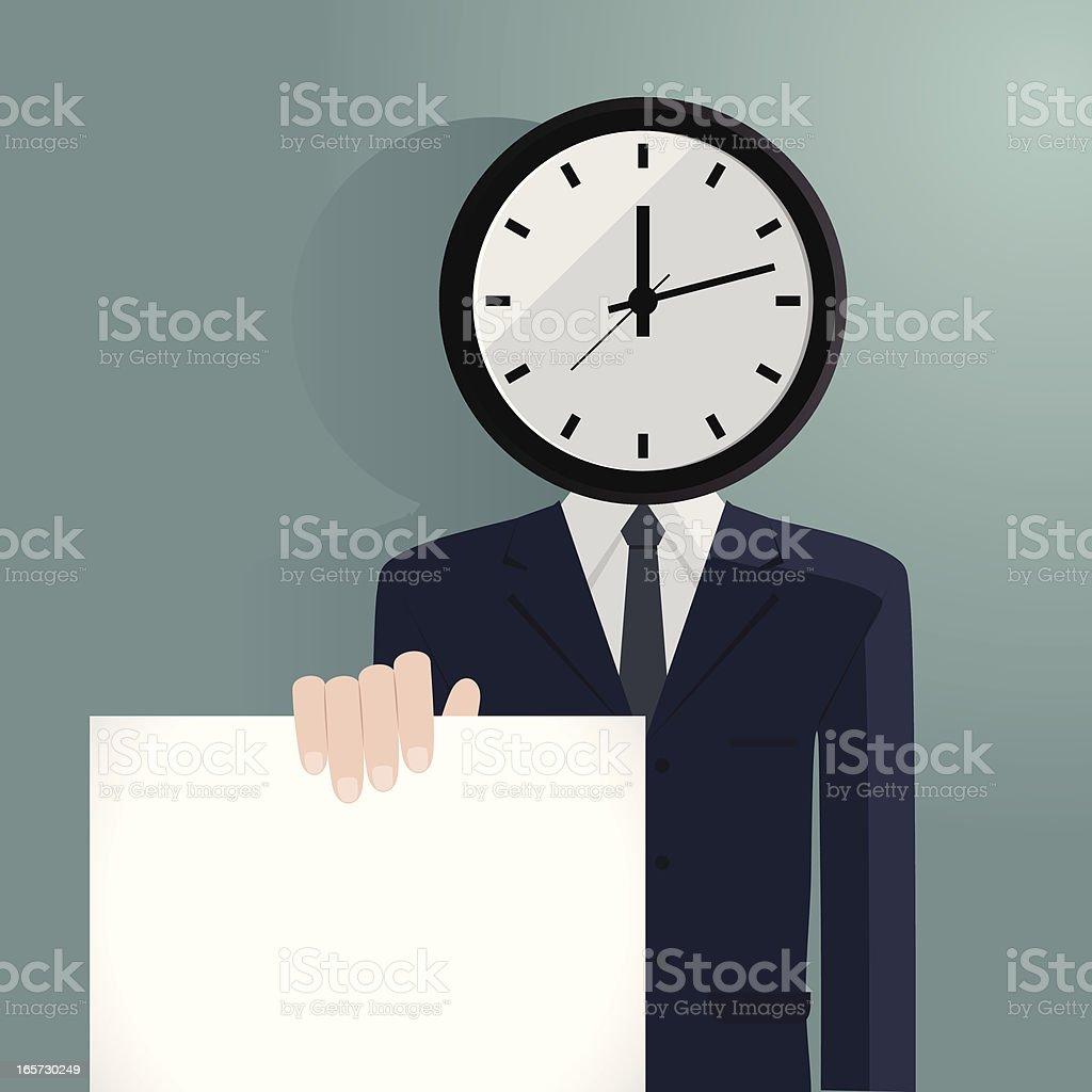 Clock Man showing the deadline vector art illustration