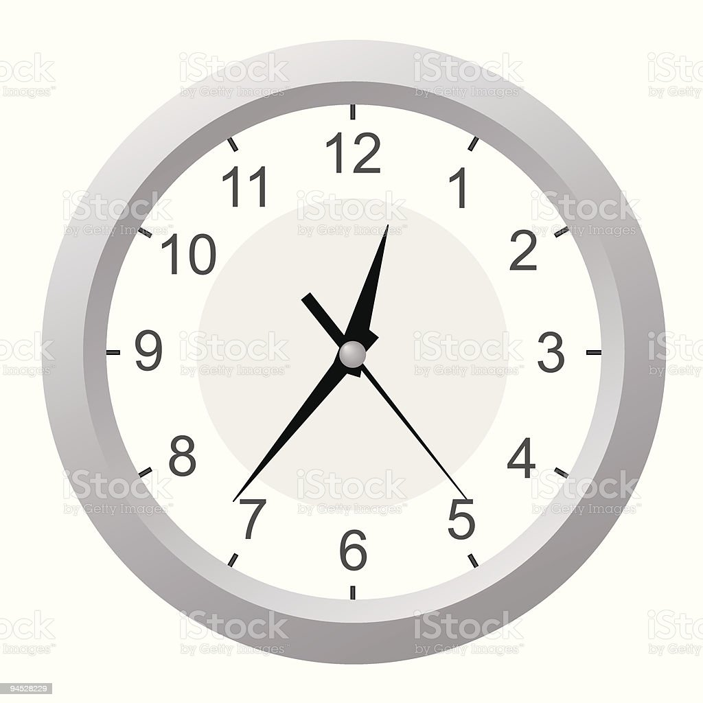 Clock on a white wall. royalty-free stock vector art