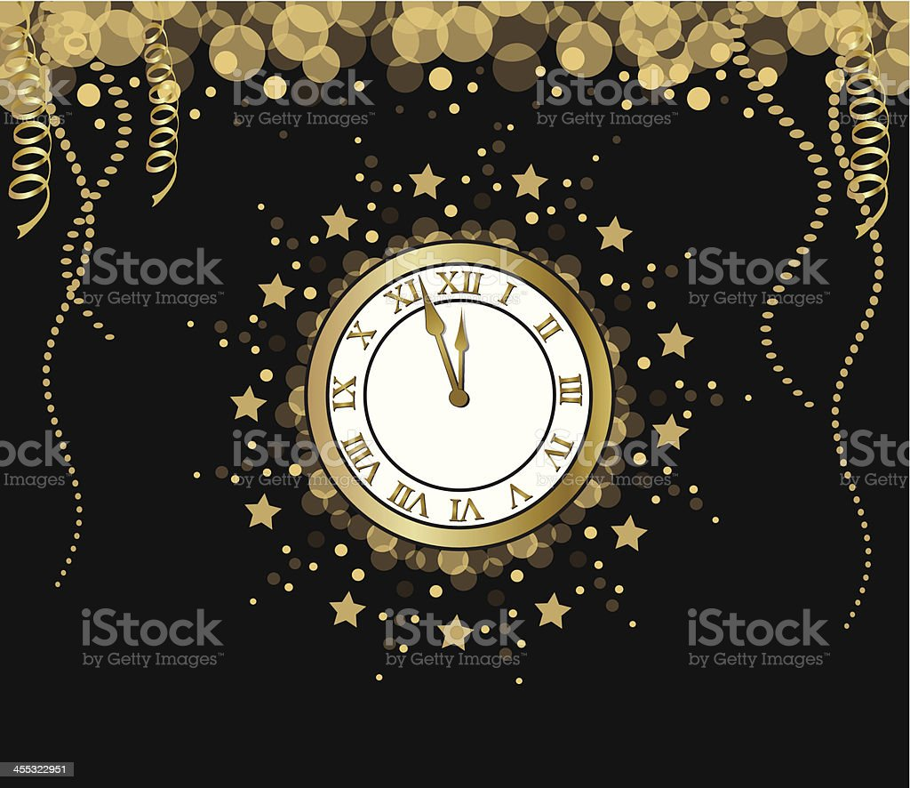 A clock on New Years Eve before it hits midnight royalty-free stock vector art